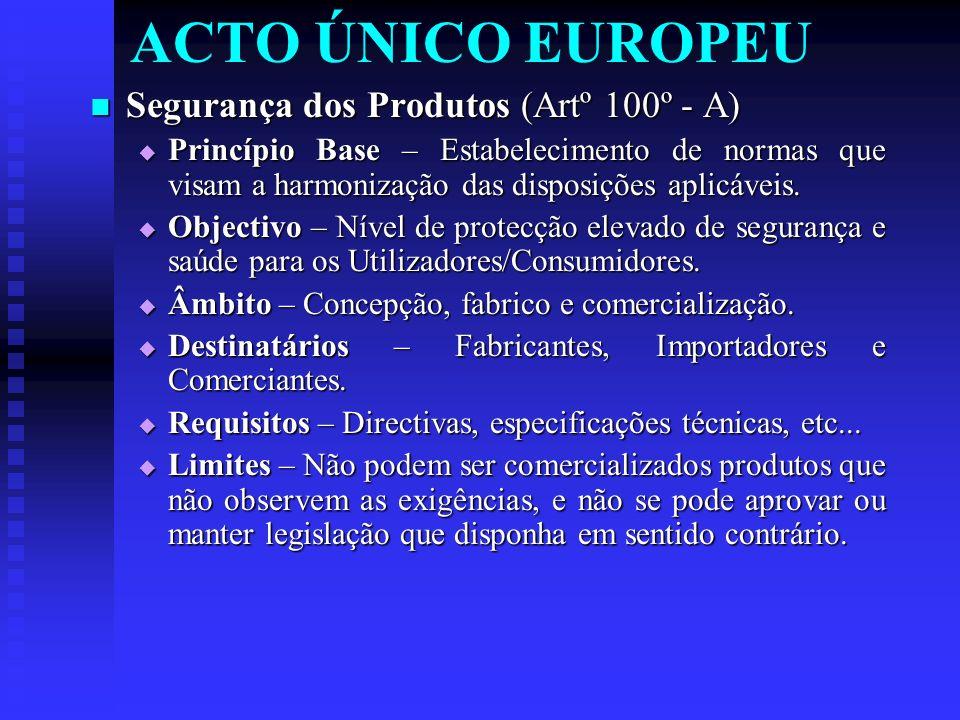 ACTO ÚNICO EUROPEU Segurança dos Produtos (Artº 100º - A) Segurança dos Produtos (Artº 100º - A) Princípio Base – Estabelecimento de normas que visam