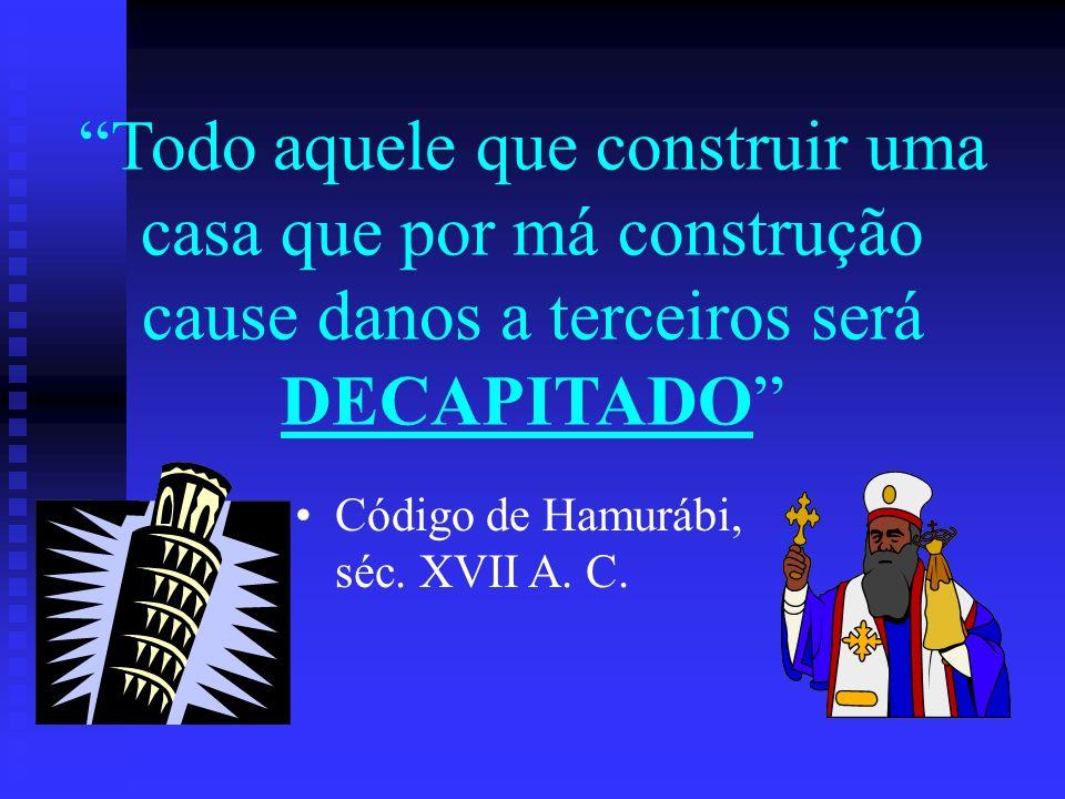 Todo aquele que construir uma casa que por má construção cause danos a terceiros será DECAPITADO Código de Hamurábi, séc. XVII A. C.