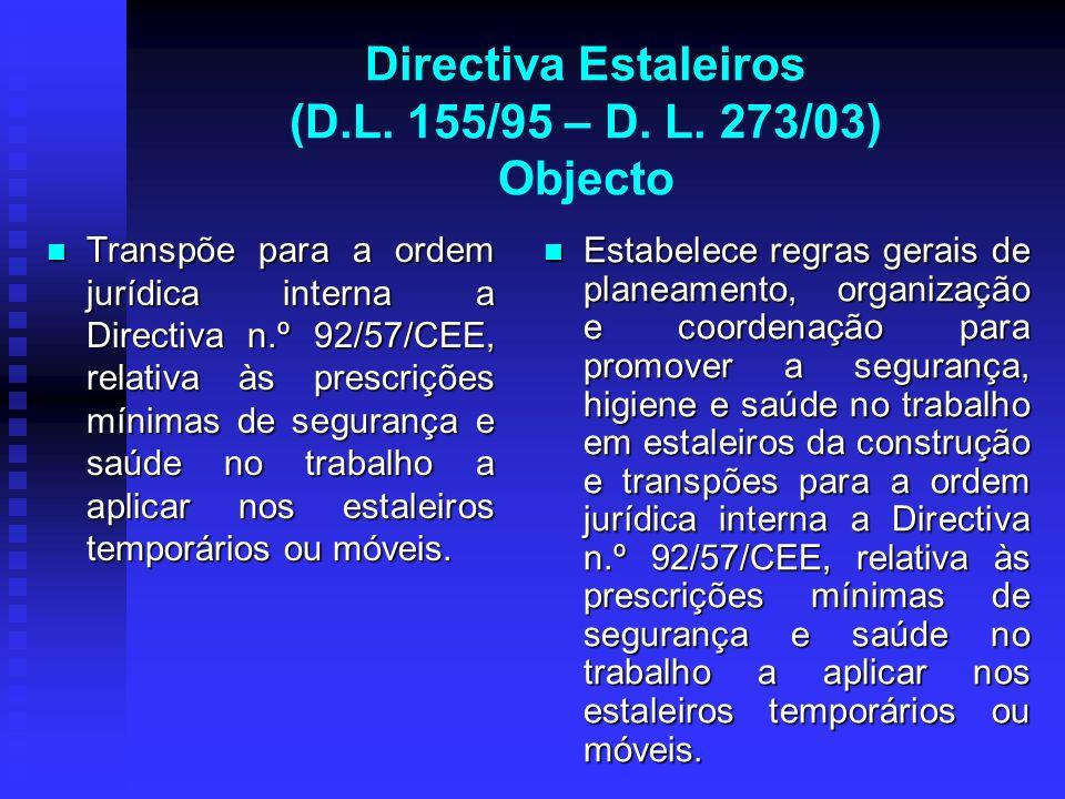 Directiva Estaleiros (D.L. 155/95 – D. L. 273/03) Objecto Transpõe para a ordem jurídica interna a Directiva n.º 92/57/CEE, relativa às prescrições mí