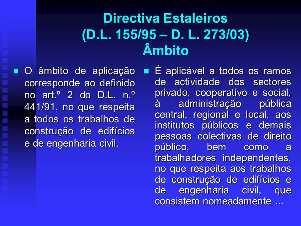 Directiva Estaleiros (D.L. 155/95 – D. L. 273/03) Âmbito O âmbito de aplicação corresponde ao definido no art.º 2 do D.L. n.º 441/91, no que respeita