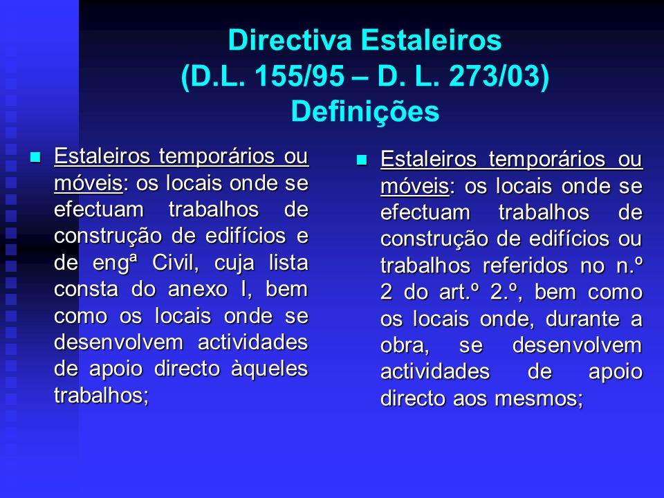 Directiva Estaleiros (D.L. 155/95 – D. L. 273/03) Definições Estaleiros temporários ou móveis: os locais onde se efectuam trabalhos de construção de e