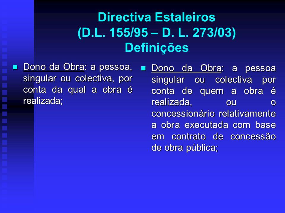 Directiva Estaleiros (D.L. 155/95 – D. L. 273/03) Definições Dono da Obra: a pessoa, singular ou colectiva, por conta da qual a obra é realizada; Dono