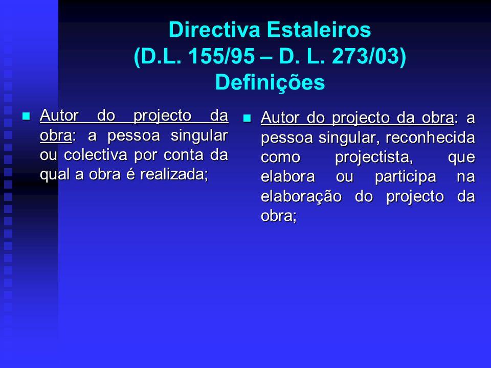 Directiva Estaleiros (D.L. 155/95 – D. L. 273/03) Definições Autor do projecto da obra: a pessoa singular ou colectiva por conta da qual a obra é real