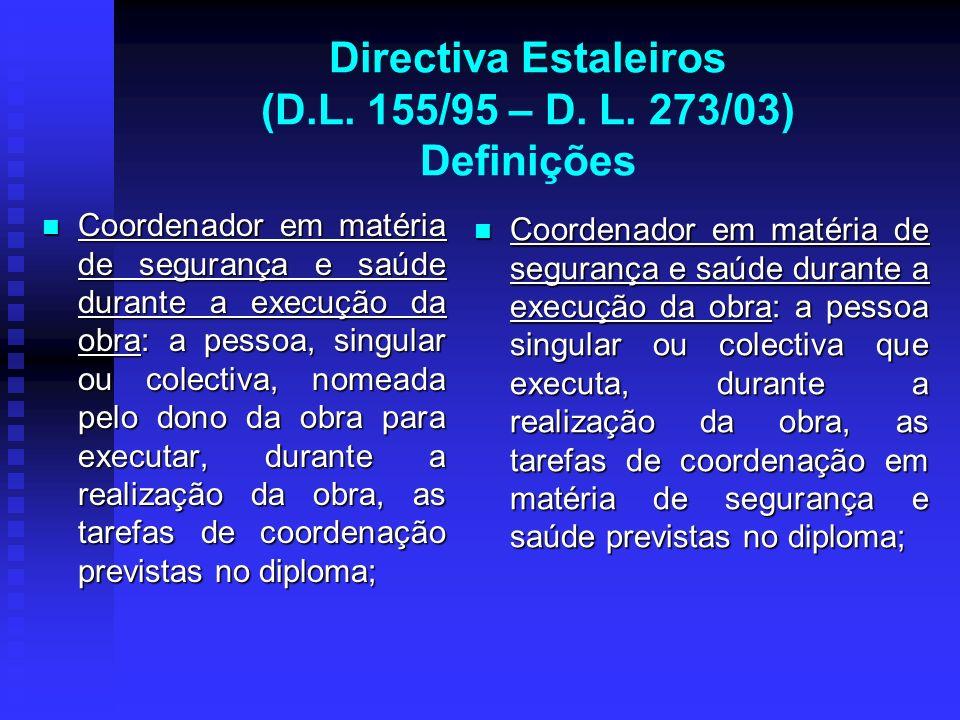 Directiva Estaleiros (D.L. 155/95 – D. L. 273/03) Definições Coordenador em matéria de segurança e saúde durante a execução da obra: a pessoa, singula