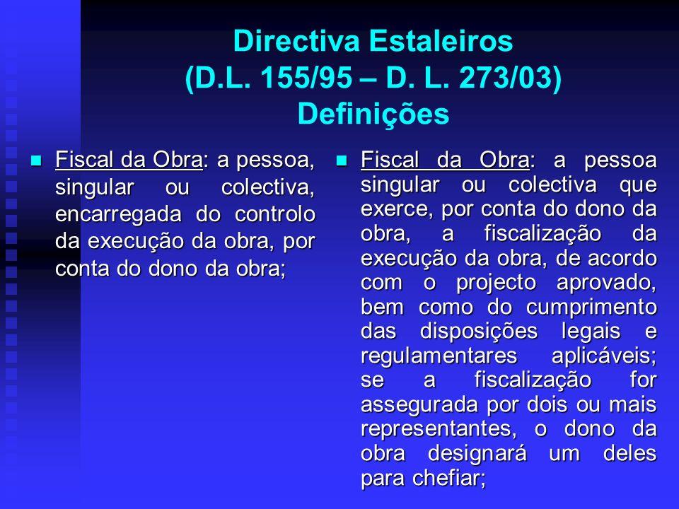 Directiva Estaleiros (D.L. 155/95 – D. L. 273/03) Definições Fiscal da Obra: a pessoa, singular ou colectiva, encarregada do controlo da execução da o