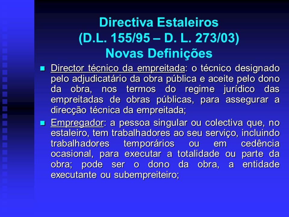 Directiva Estaleiros (D.L. 155/95 – D. L. 273/03) Novas Definições Director técnico da empreitada: o técnico designado pelo adjudicatário da obra públ
