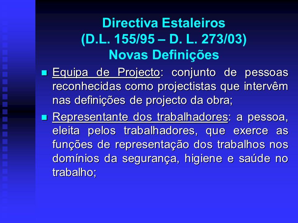 Directiva Estaleiros (D.L. 155/95 – D. L. 273/03) Novas Definições Equipa de Projecto: conjunto de pessoas reconhecidas como projectistas que intervêm