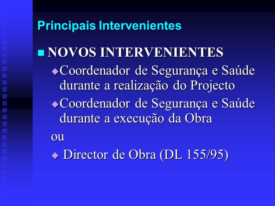 Principais Intervenientes NOVOS INTERVENIENTES NOVOS INTERVENIENTES Coordenador de Segurança e Saúde durante a realização do Projecto Coordenador de S