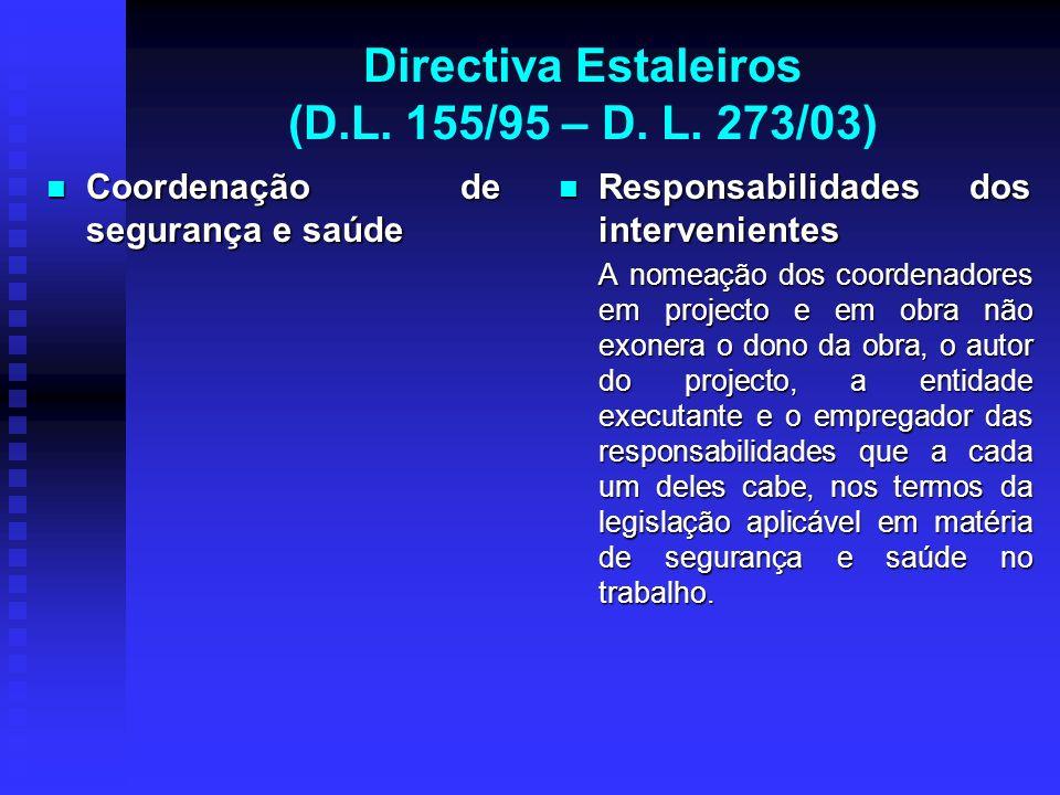 Directiva Estaleiros (D.L. 155/95 – D. L. 273/03) Coordenação de segurança e saúde Coordenação de segurança e saúde Responsabilidades dos intervenient