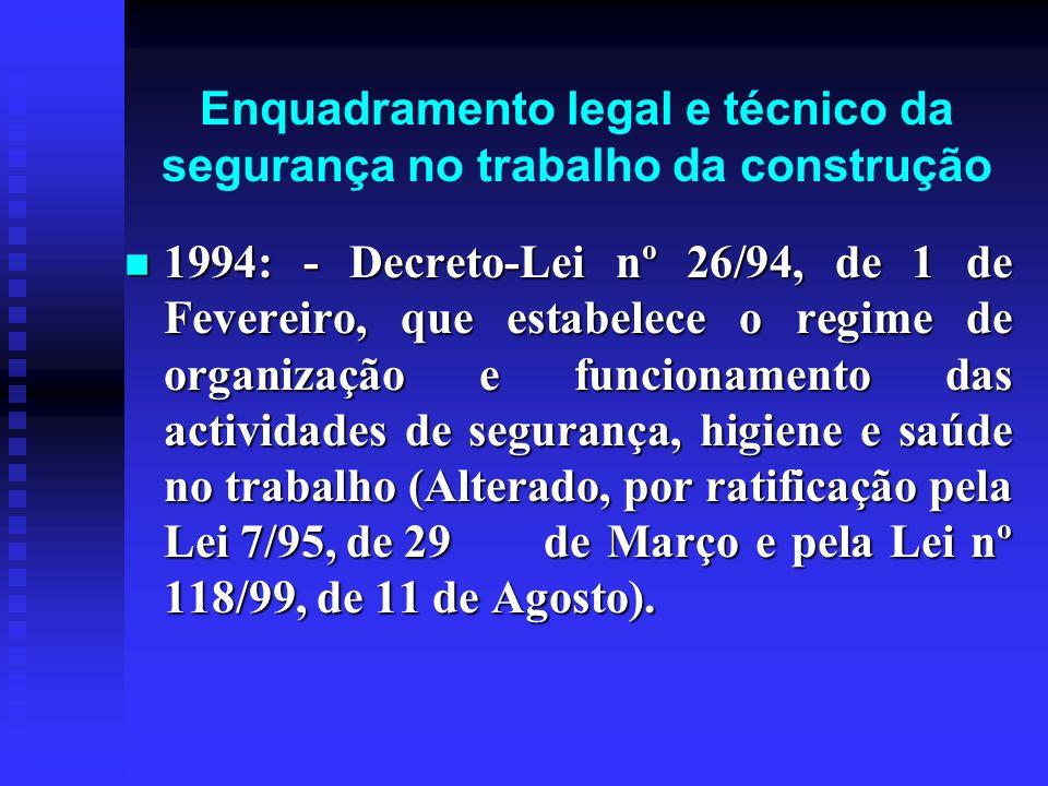 Enquadramento legal e técnico da segurança no trabalho da construção 1994: - Decreto-Lei nº 26/94, de 1 de Fevereiro, que estabelece o regime de organ