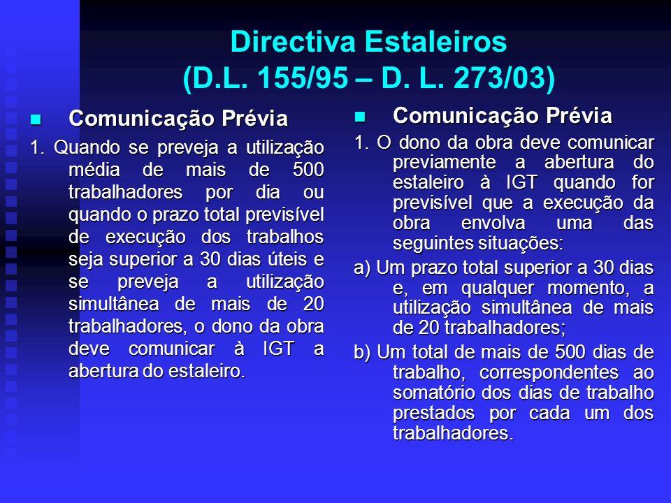 Directiva Estaleiros (D.L. 155/95 – D. L. 273/03) Comunicação Prévia Comunicação Prévia 1. Quando se preveja a utilização média de mais de 500 trabalh
