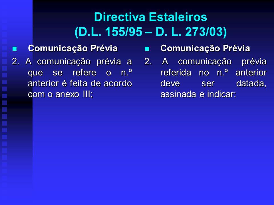 Directiva Estaleiros (D.L. 155/95 – D. L. 273/03) Comunicação Prévia Comunicação Prévia 2. A comunicação prévia a que se refere o n.º anterior é feita