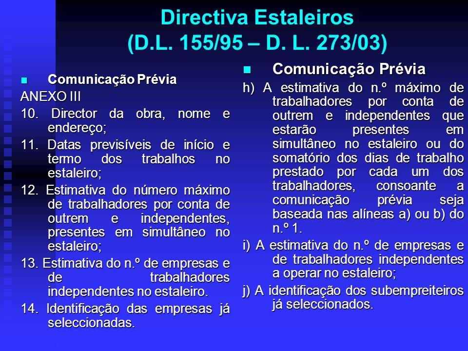 Directiva Estaleiros (D.L. 155/95 – D. L. 273/03) Comunicação Prévia Comunicação Prévia ANEXO III 10. Director da obra, nome e endereço; 11. Datas pre