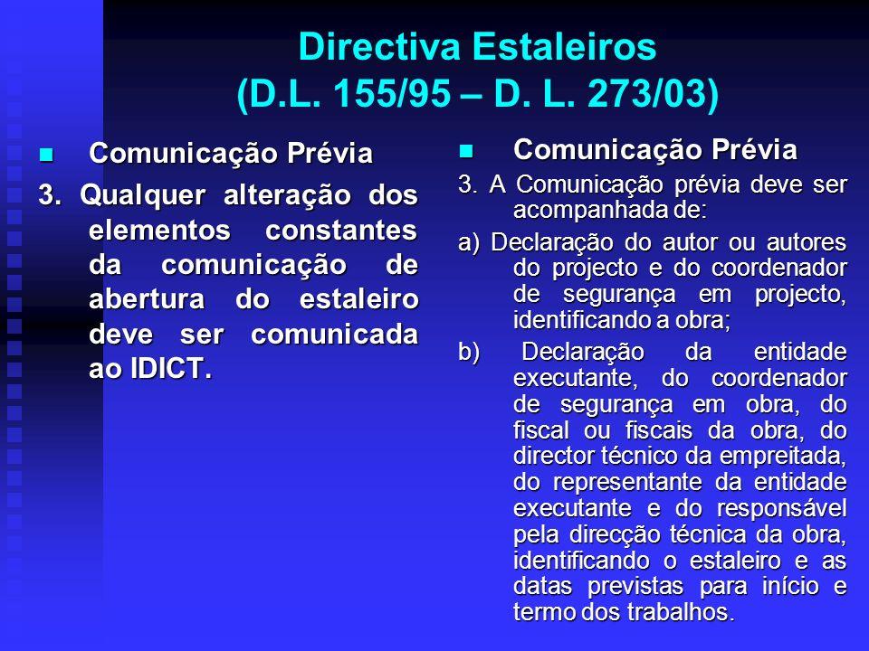 Directiva Estaleiros (D.L. 155/95 – D. L. 273/03) Comunicação Prévia Comunicação Prévia 3. Qualquer alteração dos elementos constantes da comunicação