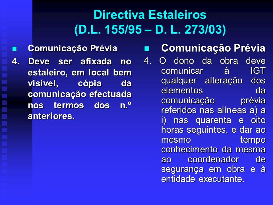 Directiva Estaleiros (D.L. 155/95 – D. L. 273/03) Comunicação Prévia Comunicação Prévia 4. Deve ser afixada no estaleiro, em local bem visível, cópia