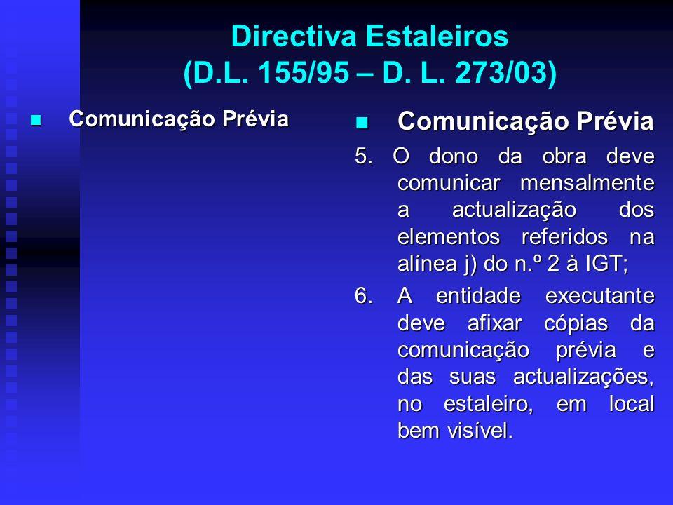 Directiva Estaleiros (D.L. 155/95 – D. L. 273/03) Comunicação Prévia Comunicação Prévia Comunicação Prévia 5. O dono da obra deve comunicar mensalment