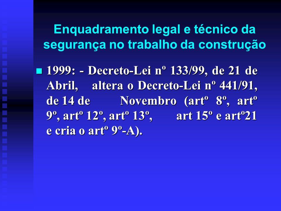 Enquadramento legal e técnico da segurança no trabalho da construção 1999: - Decreto-Lei nº 133/99, de 21 de Abril, altera o Decreto-Lei nº 441/91, de