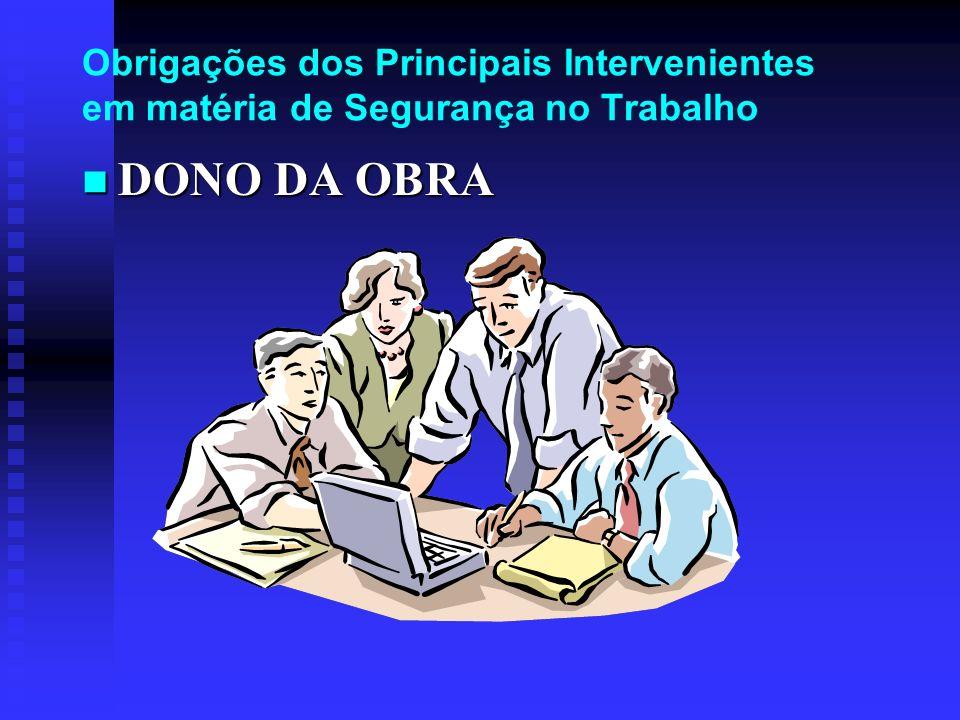 Obrigações dos Principais Intervenientes em matéria de Segurança no Trabalho DONO DA OBRA DONO DA OBRA