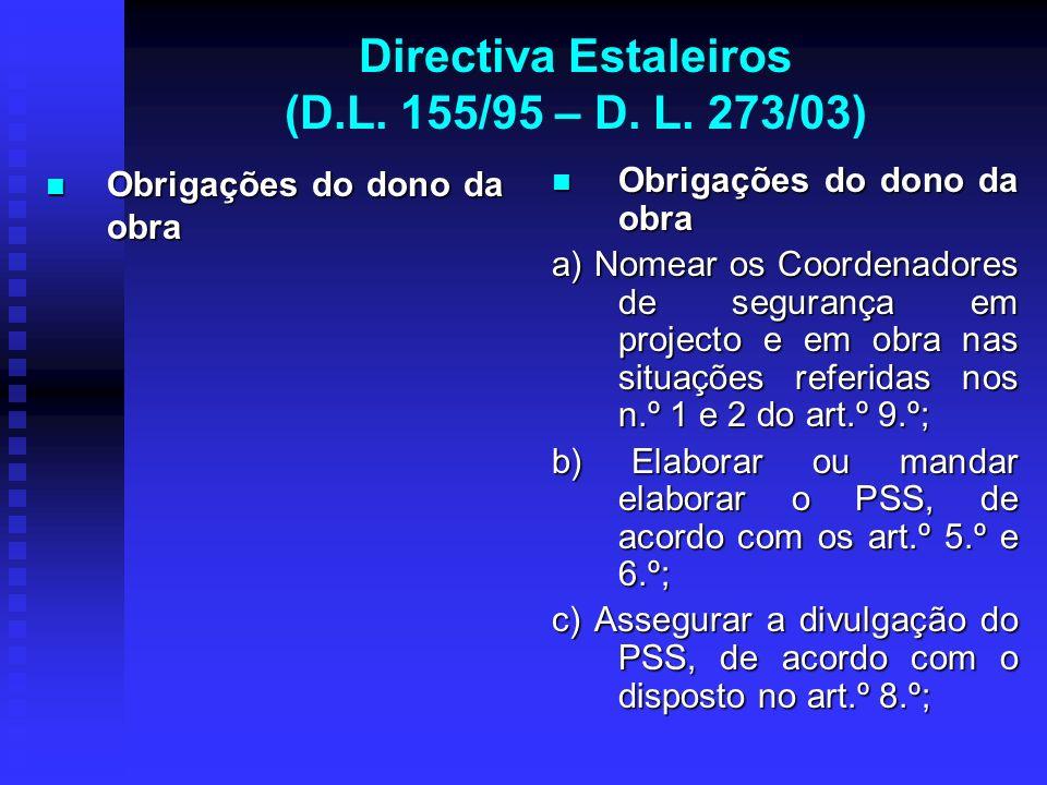 Directiva Estaleiros (D.L. 155/95 – D. L. 273/03) Obrigações do dono da obra Obrigações do dono da obra Obrigações do dono da obra a) Nomear os Coorde