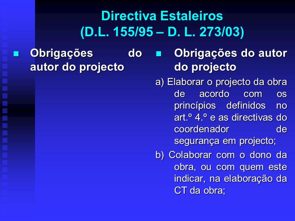 Directiva Estaleiros (D.L. 155/95 – D. L. 273/03) Obrigações do autor do projecto Obrigações do autor do projecto Obrigações do autor do projecto a) E