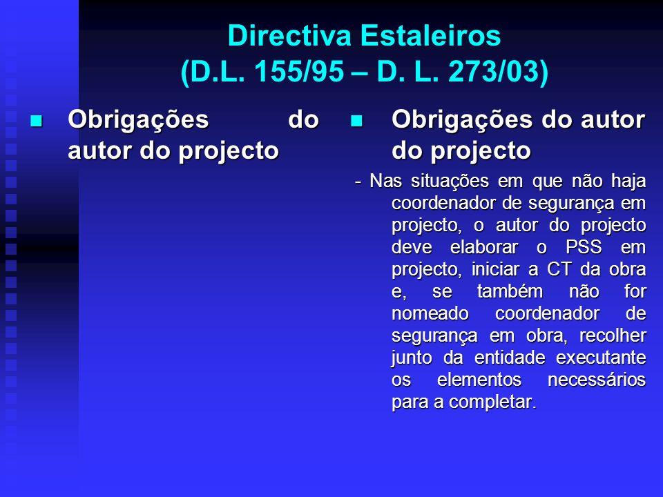 Directiva Estaleiros (D.L. 155/95 – D. L. 273/03) Obrigações do autor do projecto Obrigações do autor do projecto Obrigações do autor do projecto - Na