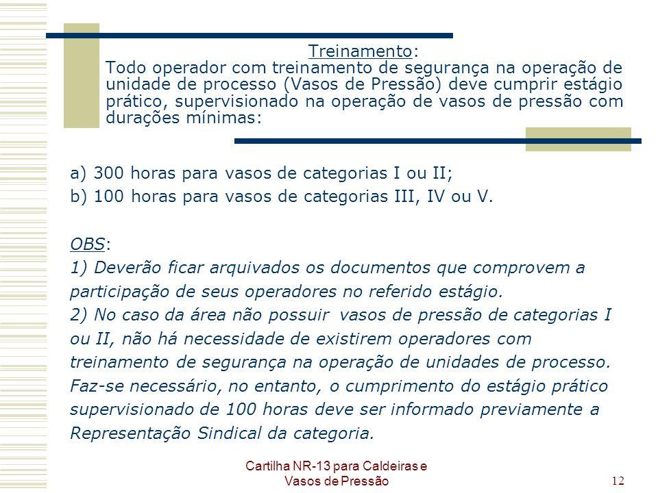 Cartilha NR-13 para Caldeiras e Vasos de Pressão12 Treinamento: Todo operador com treinamento de segurança na operação de unidade de processo (Vasos d