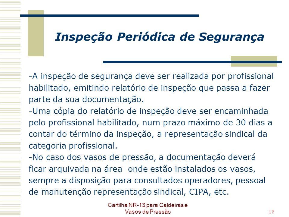Cartilha NR-13 para Caldeiras e Vasos de Pressão18 Inspeção Periódica de Segurança -A inspeção de segurança deve ser realizada por profissional habili