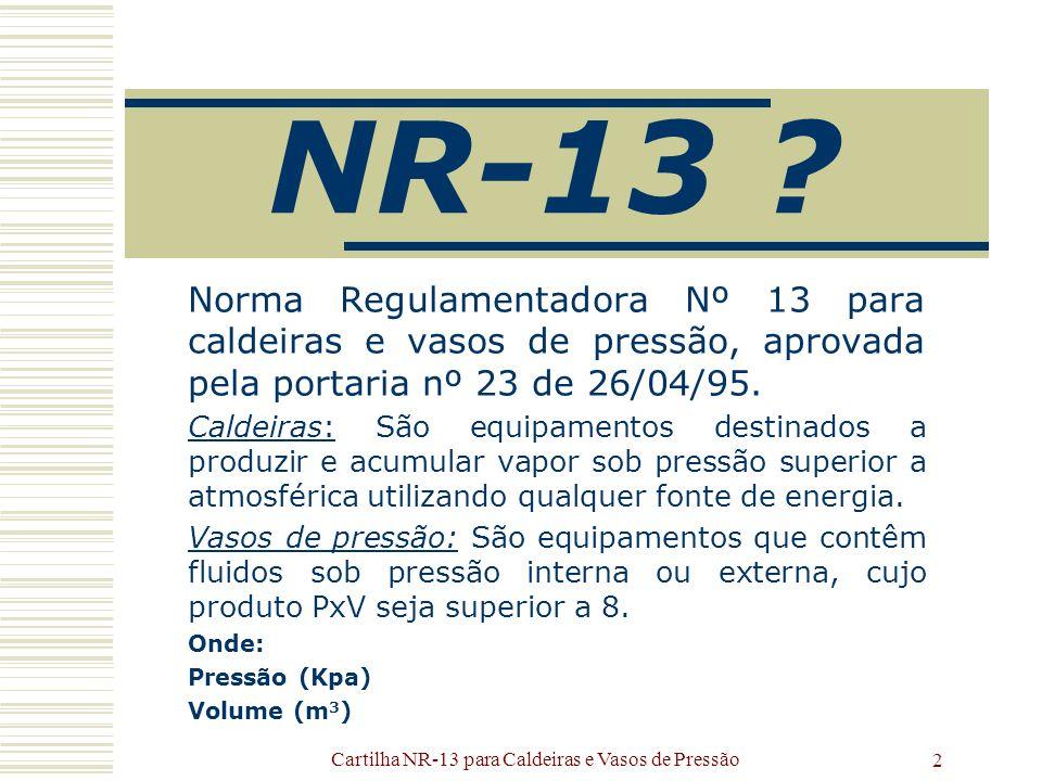 Cartilha NR-13 para Caldeiras e Vasos de Pressão 2 NR-13 ? Norma Regulamentadora Nº 13 para caldeiras e vasos de pressão, aprovada pela portaria nº 23
