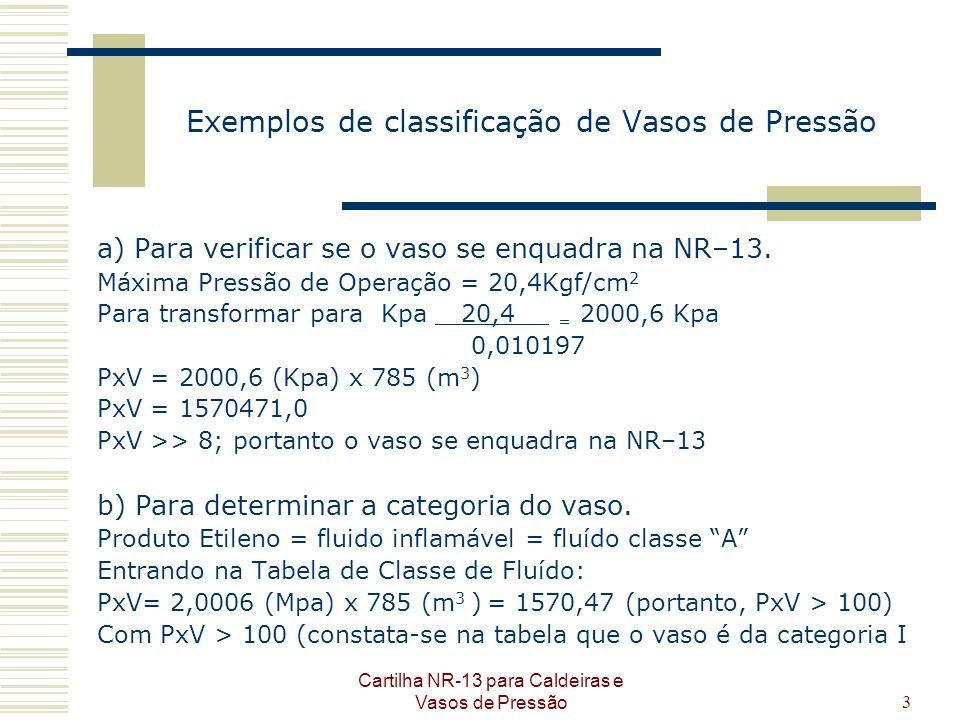 Cartilha NR-13 para Caldeiras e Vasos de Pressão3 Exemplos de classificação de Vasos de Pressão a) Para verificar se o vaso se enquadra na NR–13. Máxi