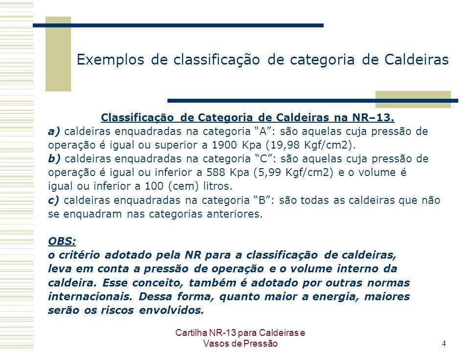 Cartilha NR-13 para Caldeiras e Vasos de Pressão4 Exemplos de classificação de categoria de Caldeiras Classificação de Categoria de Caldeiras na NR–13