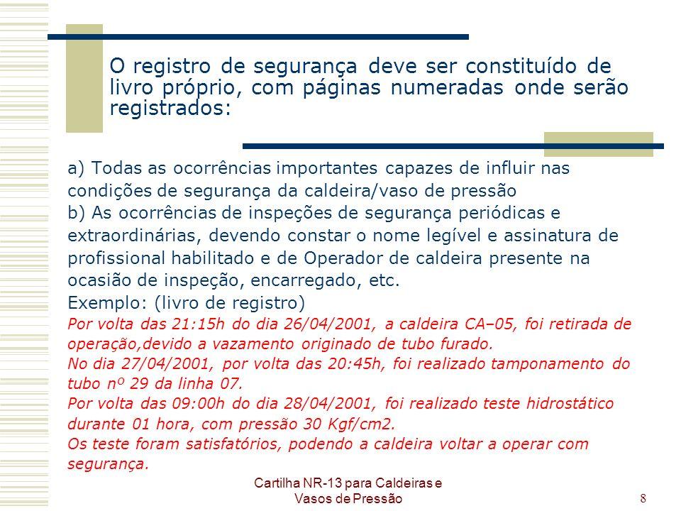 Cartilha NR-13 para Caldeiras e Vasos de Pressão8 O registro de segurança deve ser constituído de livro próprio, com páginas numeradas onde serão regi