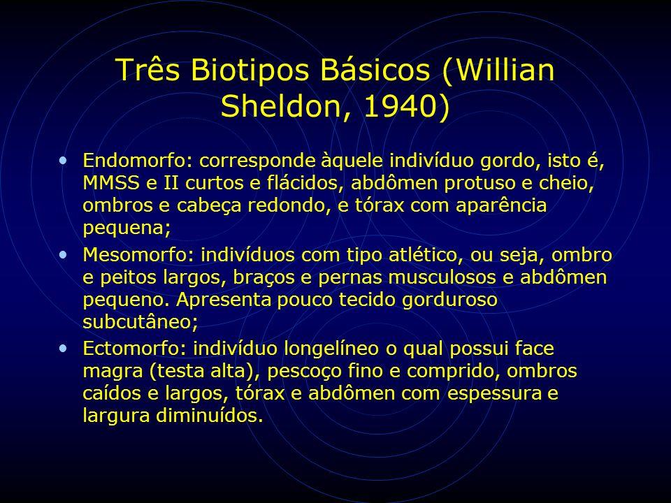 Três Biotipos Básicos (Willian Sheldon, 1940) Endomorfo: corresponde àquele indivíduo gordo, isto é, MMSS e II curtos e flácidos, abdômen protuso e ch