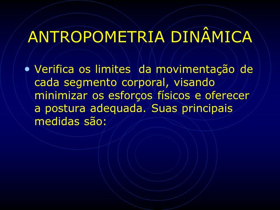 ANTROPOMETRIA DINÂMICA Verifica os limites da movimentação de cada segmento corporal, visando minimizar os esforços físicos e oferecer a postura adequ