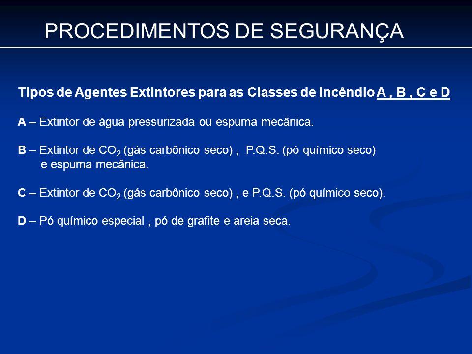 PROCEDIMENTOS DE SEGURANÇA Tipos de Agentes Extintores para as Classes de Incêndio A, B, C e D A – Extintor de água pressurizada ou espuma mecânica. B