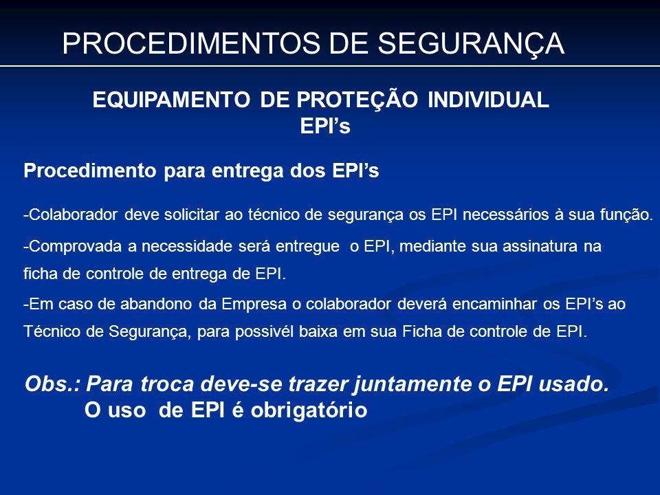 PROCEDIMENTOS DE SEGURANÇA EQUIPAMENTO DE PROTEÇÃO INDIVIDUAL EPIs Procedimento para entrega dos EPIs -Colaborador deve solicitar ao técnico de segura