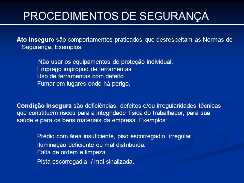 PROCEDIMENTOS DE SEGURANÇA Ato Inseguro são comportamentos praticados que desrespeitam as Normas de Segurança. Exemplos: Não usar os equipamentos de p