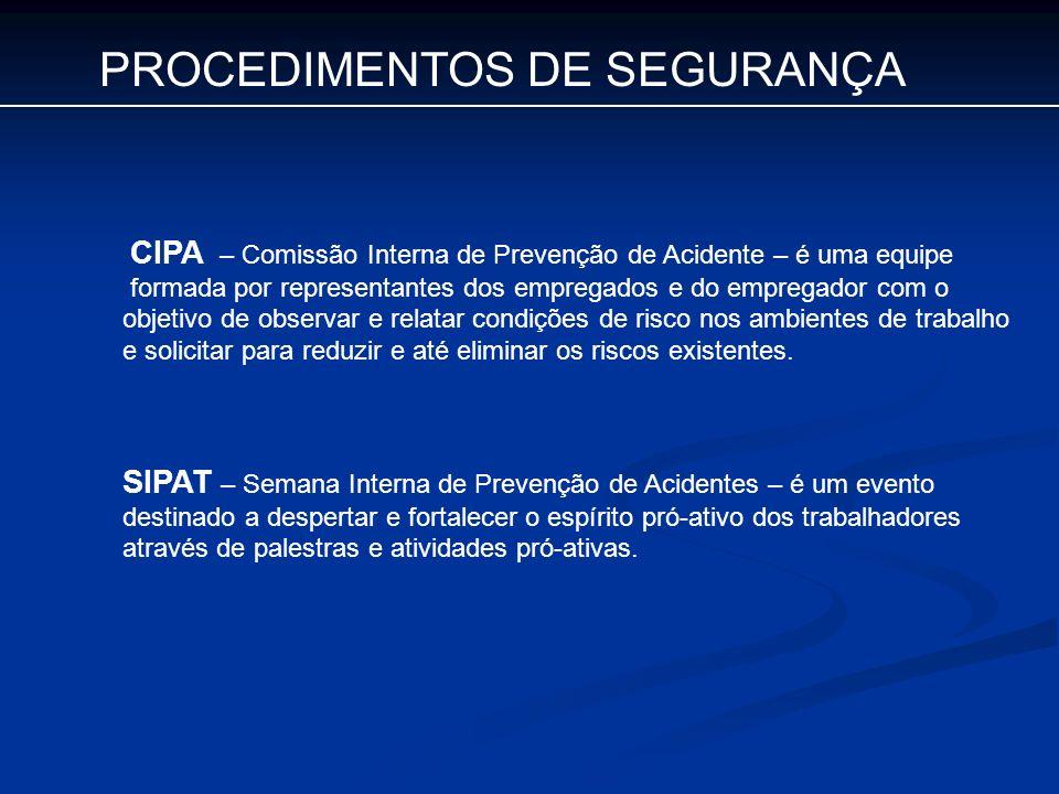 PROCEDIMENTOS DE SEGURANÇA CIPA – Comissão Interna de Prevenção de Acidente – é uma equipe formada por representantes dos empregados e do empregador c
