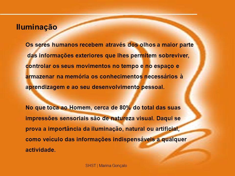 SHST | Marina Gonçalo1 Os seres humanos recebem através dos olhos a maior parte das informações exteriores que lhes permitem sobreviver, controlar os
