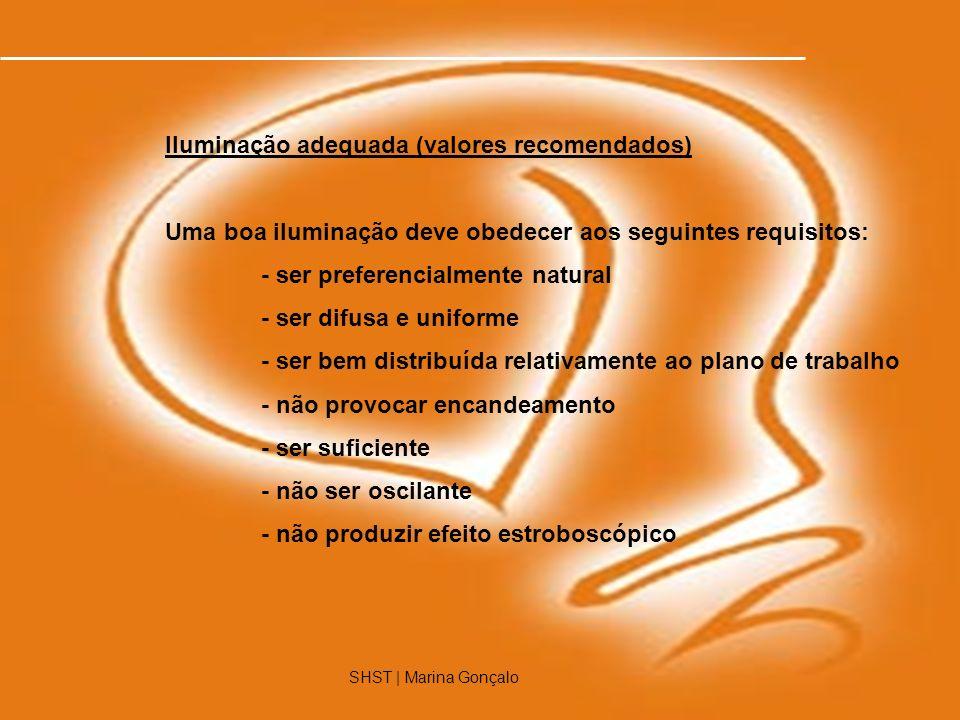SHST | Marina Gonçalo10 SHST | Marina Gonçalo Iluminação adequada (valores recomendados) Uma boa iluminação deve obedecer aos seguintes requisitos: -