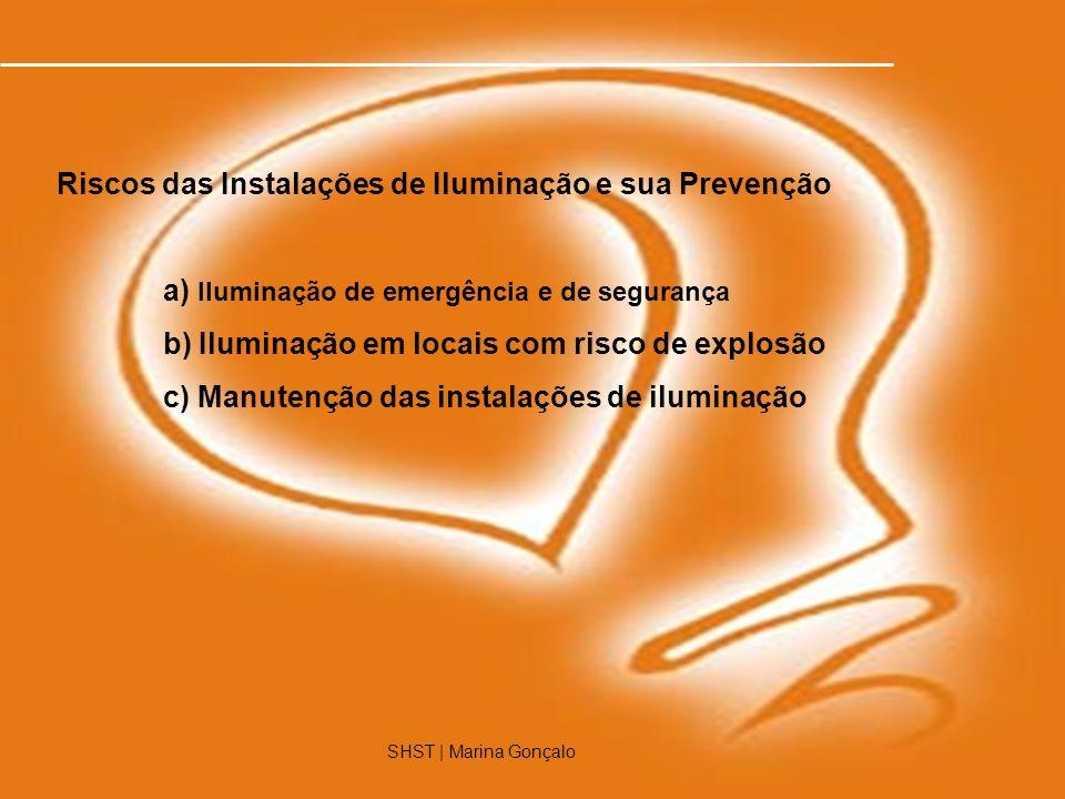 SHST | Marina Gonçalo12 SHST | Marina Gonçalo Riscos das Instalações de Iluminação e sua Prevenção a) Iluminação de emergência e de segurança b) Ilumi