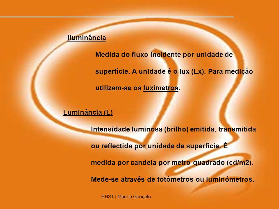 7 Luminância (L) Intensidade luminosa (brilho) emitida, transmitida ou reflectida por unidade de superfície. È medida por candela por metro quadrado (