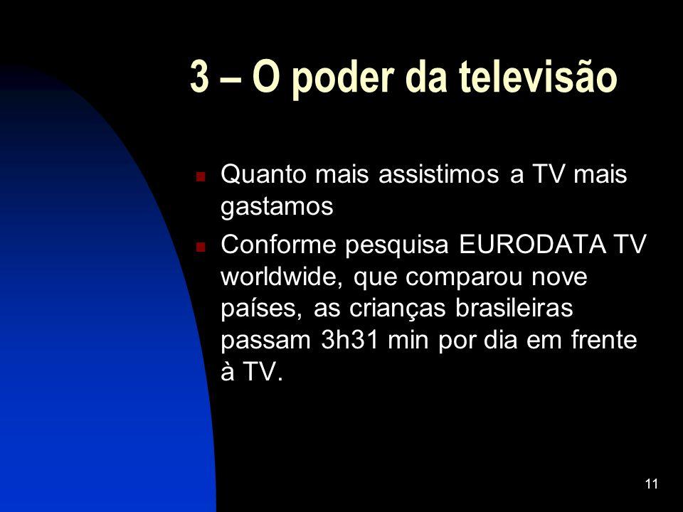 11 3 – O poder da televisão Quanto mais assistimos a TV mais gastamos Conforme pesquisa EURODATA TV worldwide, que comparou nove países, as crianças b