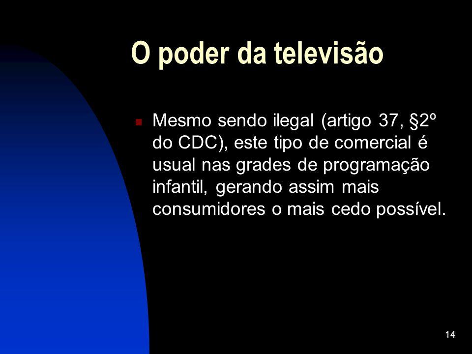 14 O poder da televisão Mesmo sendo ilegal (artigo 37, §2º do CDC), este tipo de comercial é usual nas grades de programação infantil, gerando assim m