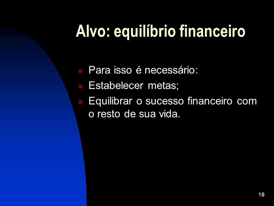 19 Alvo: equilíbrio financeiro Para isso é necessário: Estabelecer metas; Equilibrar o sucesso financeiro com o resto de sua vida.