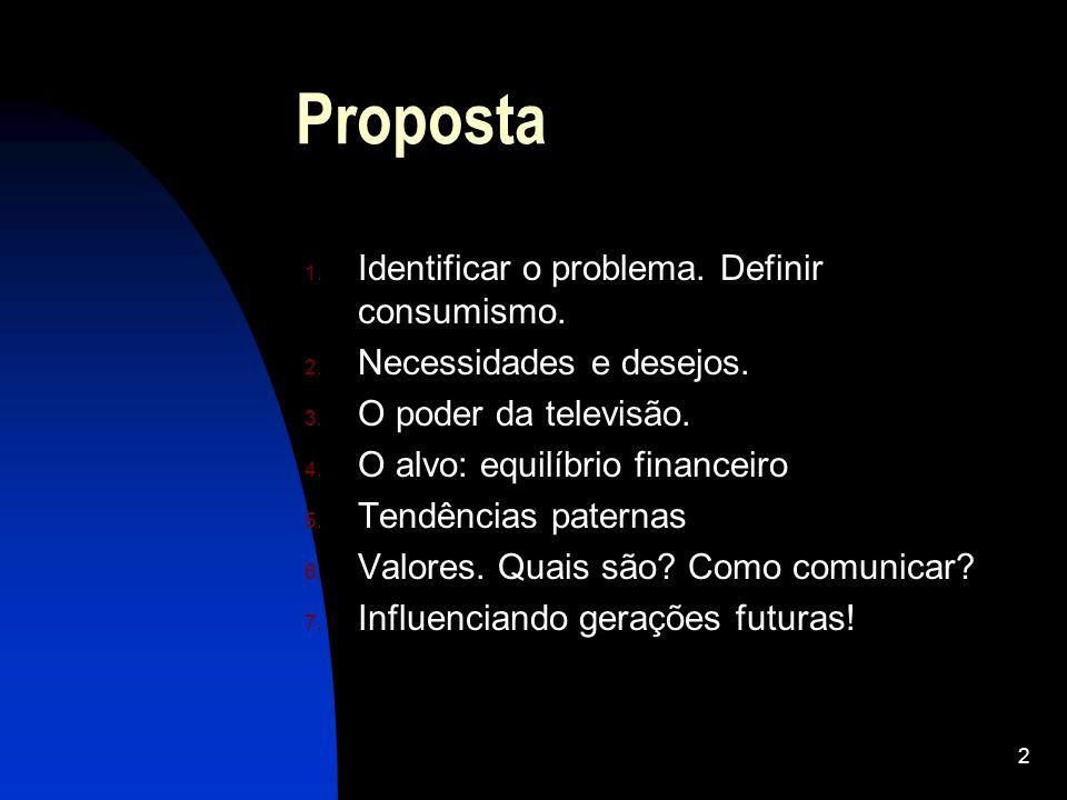 2 Proposta 1. Identificar o problema. Definir consumismo. 2. Necessidades e desejos. 3. O poder da televisão. 4. O alvo: equilíbrio financeiro 5. Tend