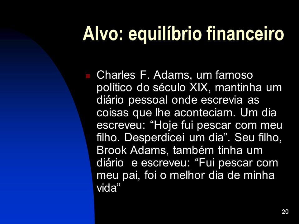 20 Alvo: equilíbrio financeiro Charles F. Adams, um famoso político do século XIX, mantinha um diário pessoal onde escrevia as coisas que lhe aconteci