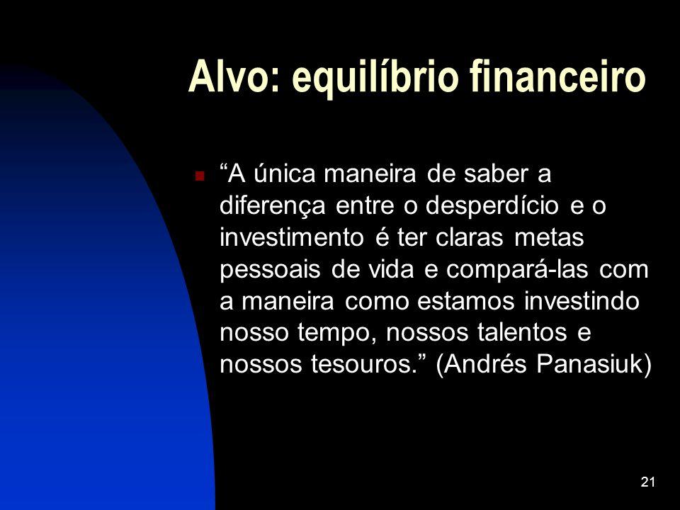 21 Alvo: equilíbrio financeiro A única maneira de saber a diferença entre o desperdício e o investimento é ter claras metas pessoais de vida e compará