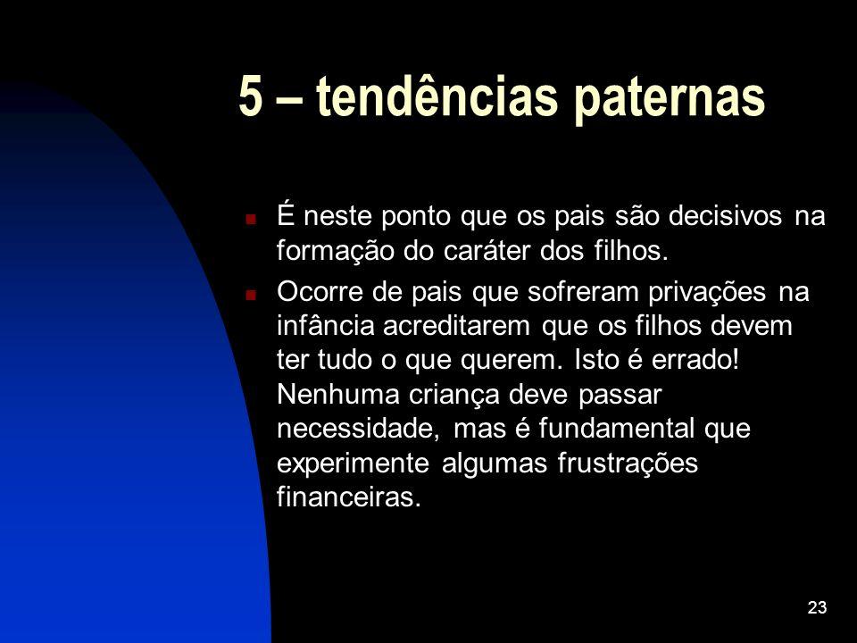 23 5 – tendências paternas É neste ponto que os pais são decisivos na formação do caráter dos filhos. Ocorre de pais que sofreram privações na infânci