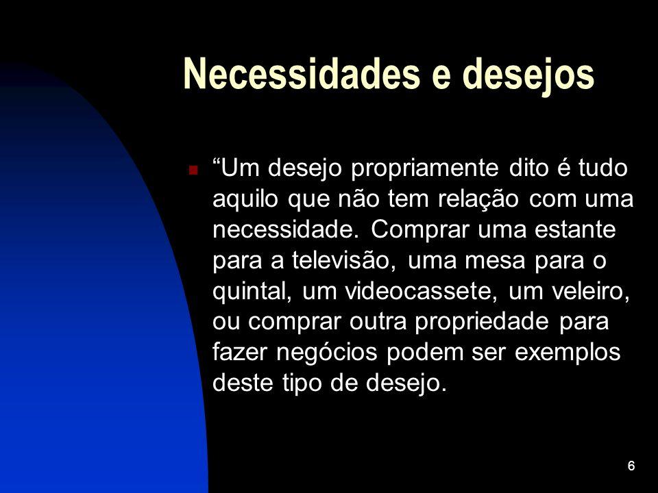 6 Necessidades e desejos Um desejo propriamente dito é tudo aquilo que não tem relação com uma necessidade. Comprar uma estante para a televisão, uma
