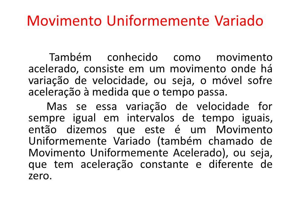 Movimento Uniformemente Variado Também conhecido como movimento acelerado, consiste em um movimento onde há variação de velocidade, ou seja, o móvel s